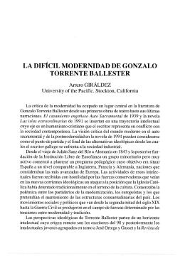 La difícil modernidad de Gonzalo Torrente Ballester