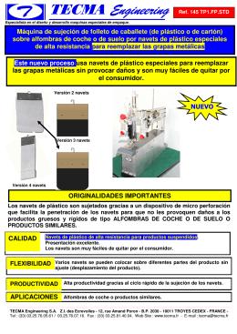 ORIGINALIDADES IMPORTANTES Máquina de sujeción de folleto