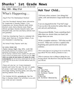 Shanks` 1st Grade News
