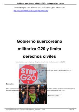 Gobierno suercoreano militariza G20 y limita derechos civiles