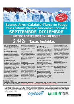 Buenos Aires-Calafate y Tierra de Fuego SEPTIEMBRE