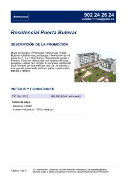 Residencial Puerta Bulevar DESCRIPCIÓN DE LA PROMOCIÓN