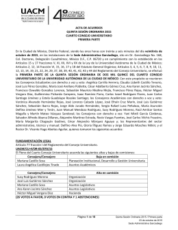 ACTA DE ACUERDOS QUINTA SESIÓN ORDINARIA 2015
