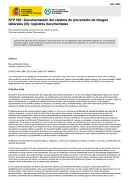 NTP 591: Documentación del sistema de prevención de riesgos