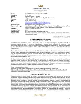 1. INFORMACIÓN GENERAL 2. SERVICIOS DEL HOTEL