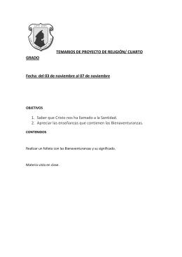 TEMARIOS DE PROYECTO DE RELIGIÓN/ CUARTO GRADO