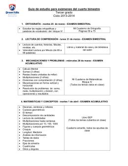 Guía de estudio para exámenes del cuarto bimestre Tercer grado