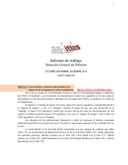 Informe de Actividades Dirección General de Difusión Cuarto