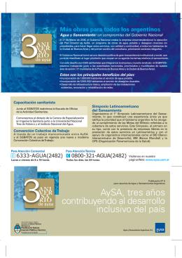 AySA, tres años contribuyendo al desarrollo inclusivo del país