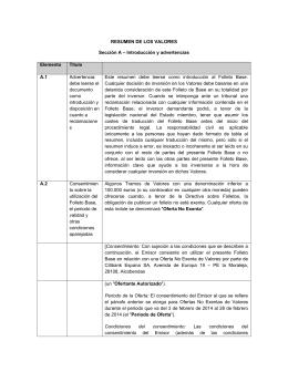 RESUMEN DE LOS VALORES Sección A – Introducción y
