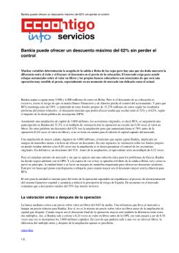 Bankia puede ofrecer un descuento máximo del 62% sin perder el