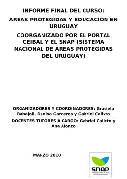 Informe Curso Áreas Protegidas y Educación Calixto Alonzo