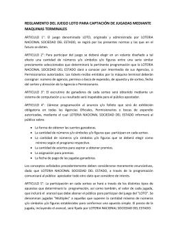 REGLAMENTO DEL JUEGO LOTO PARA CAPTACIÓN DE