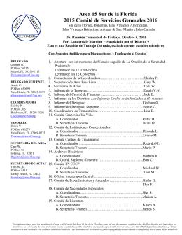 Area 15 Sur de la Florida 2015 Comité de Servicios Generales 2016