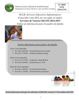 Servicios de Tutoría GRATIS 2014-2015