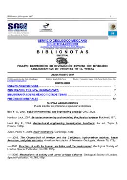 Julio-Agosto - Servicio Geológico Mexicano