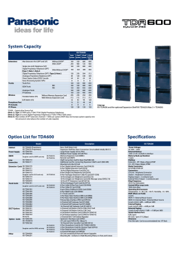 System Capacity Option List for TDA600 Specifications - Syd-Com