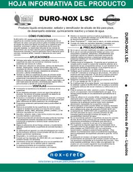 DURO-NOX LSC • HOJA INFORMATIVA DEL PRODUCTO - Nox
