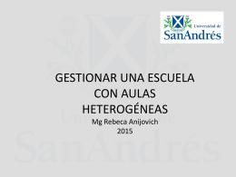 GESTIONAR UNA ESCUELA CON AULAS HETEROGÉNEAS Mg