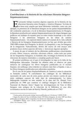 Contribuciones a la historia de las relaciones literarias húngaro