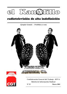 el kanAlillo número 33. Marzo 2001. - Sección Sindical CGT