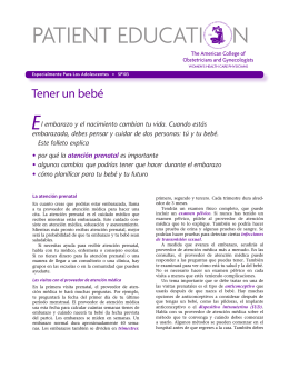 Patient Education Pamphlet, SP103, Tener un bebé