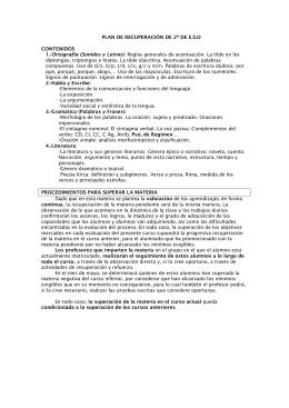 PLAN DE RECUPERACIÓN DE 2º DE E.S.O CONTENIDOS 1