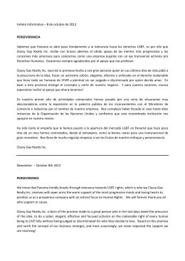 Folleto Informativo – 8 de octubre de 2012 PERSEVERANCIA