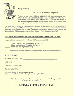 iULTIMA OPORTUNIDAD! - Resurrection Parish