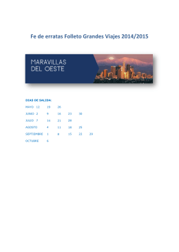F Fe de e rratas Folleto o Grand des Viajes 2014/2015
