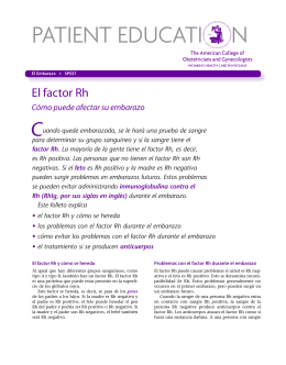 Patient Education Pamphlet, SP027, El factor Rh