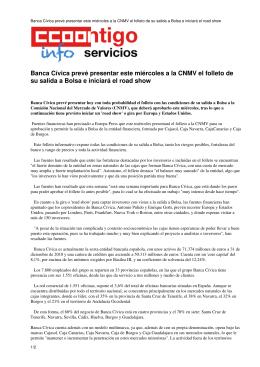 Banca Cívica prevé presentar este miércoles a la CNMV el folleto de