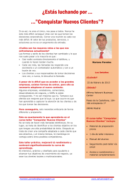 "Conquistar Nuevos Clientes""? - Advanced Performance Management"