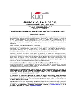 Folleto Informativo JV Grupo KUO / Grupo Herdez