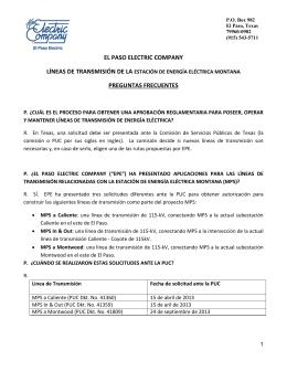 EL PASO ELECTRIC COMPANY PREGUNTAS FRECUENTES