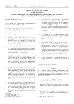 Decisión 2012/421/PESC del Consejo, de 23 de julio de