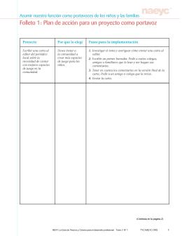 Folleto 1: Plan de acción para un proyecto como portavoz