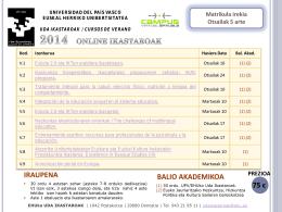 Liburuxka/ Diptico/ Brochure - Cursos de Verano UPV/EHUko Uda