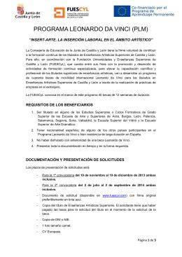 Folleto Programa Leonardo Da Vinci (PLM)