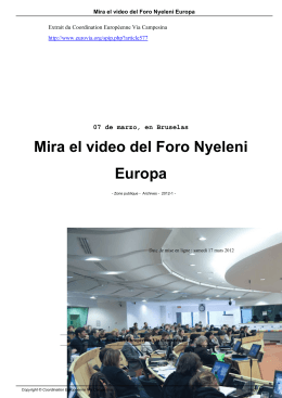 Mira el video del Foro Nyeleni Europa