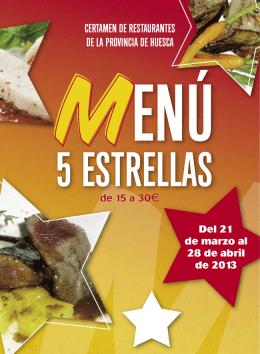 Folleto Menu 5estrellas (Huesca, 2013)