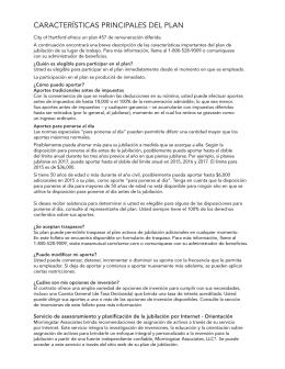 CARACTERÍSTICAS PRINCIPALES DEL PLAN