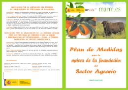 Plan de Medidas mejora de la financiación Sector Agrario