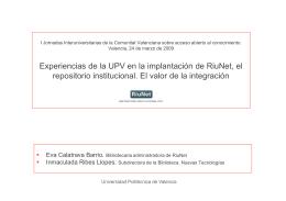 Experiencia de la UPV en la implantación del repositorio