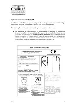 Equipos de protección individual (EPI) El EPI tiene por finalidad