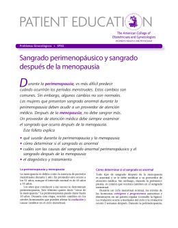 Patient Education Pamphlet, SP162, Sangrado perimenopáusico y