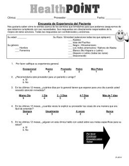 Encuesta de Expe Encuesta de Experiencia del Paciente