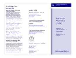 Evaluación Alternativa (CoAlt) - Colorado Department of Education