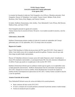 NYOS Charter School Acta de la reunión del Consejo gobernante