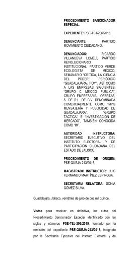 procedimiento sancionador especial - Tribunal Electoral del Estado